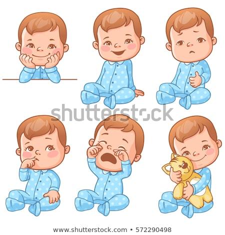 Sír kicsi baba fiú dühroham arc Stock fotó © galitskaya