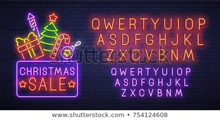 merry christmas sale neon sign stock photo © voysla