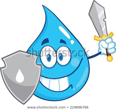 Su damlası karikatür maskot kalkan kılıç yalıtılmış beyaz Stok fotoğraf © hittoon