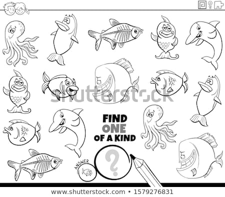 one of a kind game with sea animals color book page Stock photo © izakowski