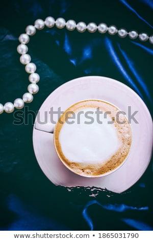 Csésze cappucchino reggeli szatén gyöngyök ékszerek Stock fotó © Anneleven