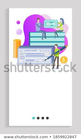 Checking Accounts Man Signing Big Check Website Stock photo © robuart