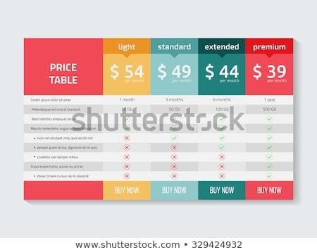 Web Preisgestaltung Tabelle Vorlage Service Vergleich Stock foto © SArts