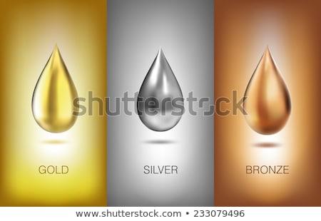 Glossy liquid mercury, metal drop on white Stock photo © evgeny89