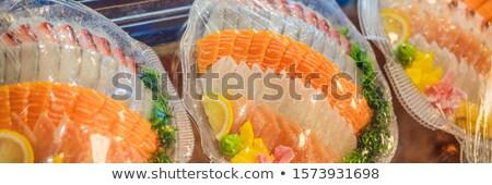 fresh korean style raw sea bream sashimi BANNER, LONG FORMAT Stock photo © galitskaya