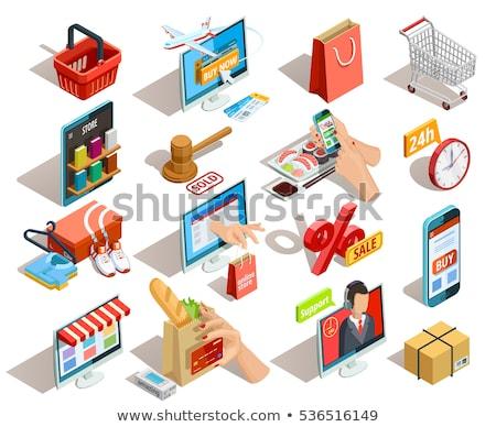 Internetes vásárlás fizetés izometrikus ikon vektor felirat Stock fotó © pikepicture