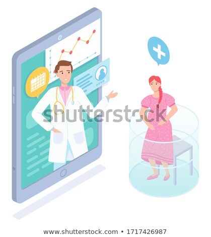 Isométrique ligne médecine femme enceinte Consulting médecin Photo stock © robuart
