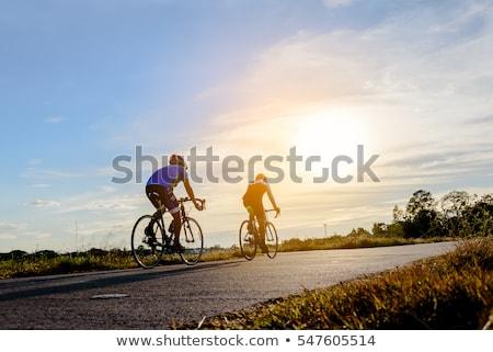 Weg fiets fietser man paardrijden Stockfoto © Maridav