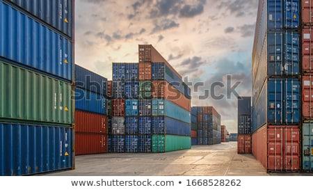Opslag container perspectief grijs staal afbeelding Stockfoto © bobkeenan