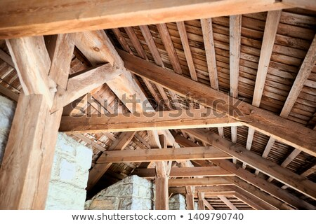 wooden framework on ancient roof Stock photo © gewoldi
