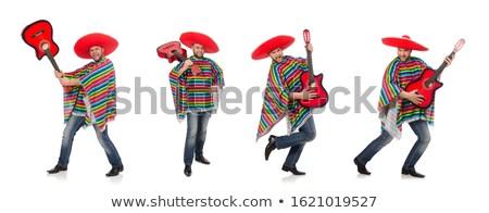 Foto stock: Mexicano · jogar · guitarra · deserto · cena · música