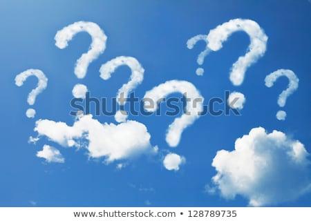 Foto stock: Signo · de · interrogación · cielo · resumen · signo · azul · nube