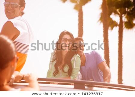 Suv szörfdeszka tengerpart ki hát ülés Stock fotó © iofoto