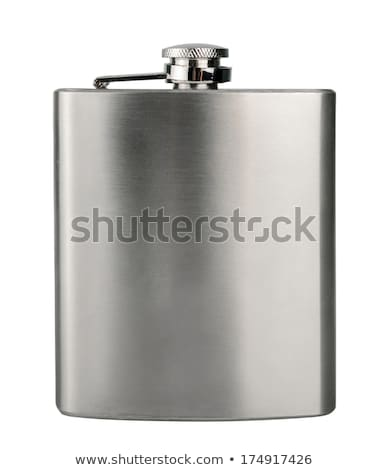 Stainless hip flask with pattern isolated on white background Stock photo © ozaiachin