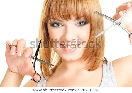 Vörös hajú nő lány olló üzlet mosoly arc Stock fotó © Massonforstock