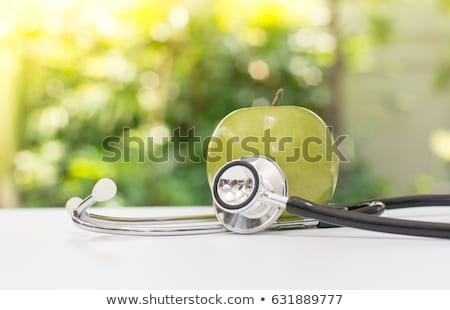 Zdjęcia stock: Medycznych · stetoskop · zielone · jabłka · dojrzały · jabłko