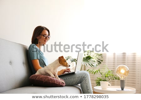 Stok fotoğraf: Kadın · dizüstü · bilgisayar · köpek · yazarak · Evcil · güzel