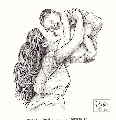 Mère fille bleu maman séance Photo stock © photography33