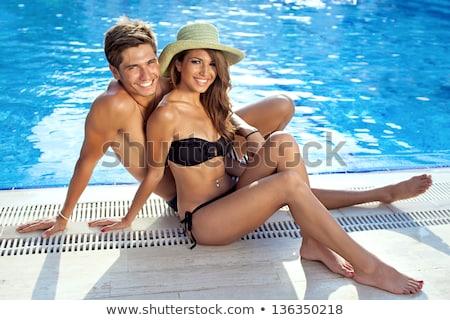 gelukkig · vrouw · sluiten · zwembad · jonge · water - stockfoto © dash