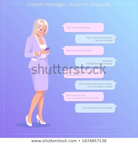 mooie · blond · tekstballon · jonge · meisje · permanente - stockfoto © vlad_star