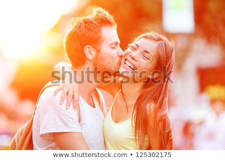 肖像 · ロマンチックな · 立って · 一緒に · 白 - ストックフォト © stockyimages