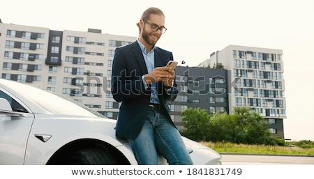 homme · téléphone · extérieur · affaires · travaux · arbres - photo stock © photography33