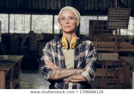 Stolarz człowiek młodych hat biały Zdjęcia stock © photography33