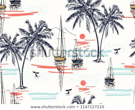Coconut palm tree and sailboat on tropical beach Stock photo © zzve