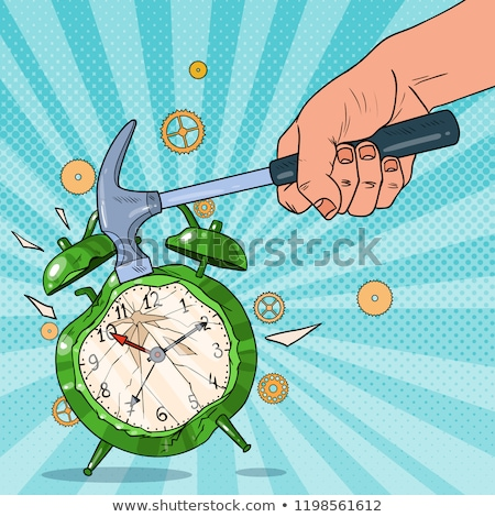 angry man holding a hammer and an alarm clock stock photo © photography33