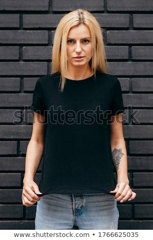 Foto stock: Atraente · loiro · mulher · preto · jovem · vestido · preto
