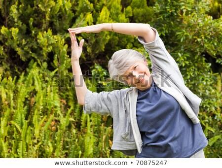 Kıdemli kadın bahçe sağlık park kadın Stok fotoğraf © wavebreak_media
