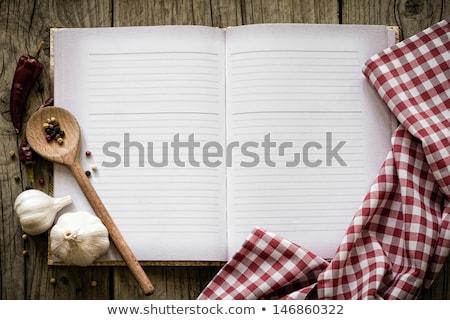 Recept boek keukentafel Rood witte Stockfoto © stevanovicigor
