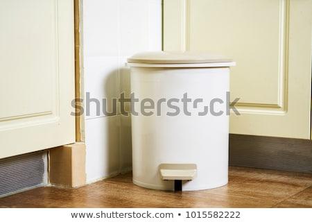 кухне мусорное ведро изолированный белый мусор пластиковых Сток-фото © shutswis