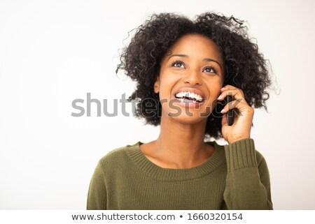 Mulher jovem escuta branco mulher fundo Foto stock © wavebreak_media
