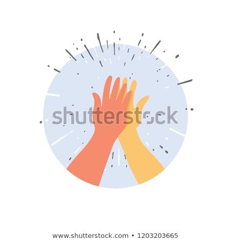 cartoon hand   high five   vector illustration stock photo © indiwarm