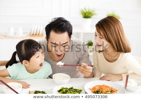 Heureux chinois manger riz kimono Photo stock © Thodoris_Tibilis