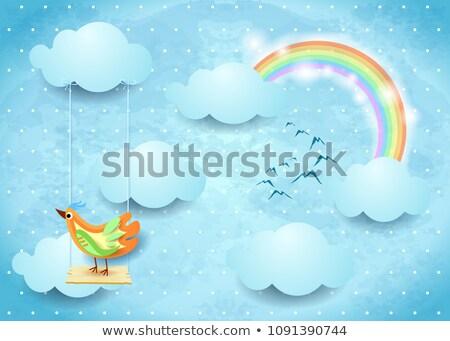 Cartoon радуга Swing eps10 древесины бабочка Сток-фото © Larser