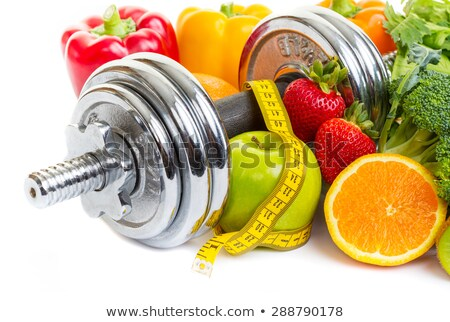 Foto stock: Protein Foods And Dumbell