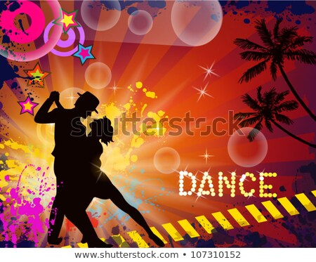 vector design with couple dancing tango on dark background stock photo © articular