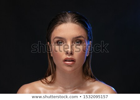 portre · güzel · genç · kadın · kadın · iç · çamaşırı · siyah - stok fotoğraf © pawelsierakowski