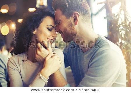 Intimitás szerető pár fiatal lány arc Stock fotó © konradbak