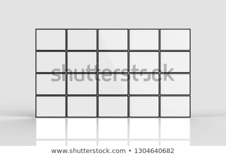 Stock photo: Black frame television multiple screen wall