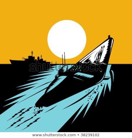Mundo guerra dois encouraçado retro ilustração Foto stock © patrimonio