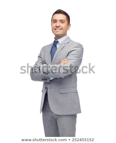 成人 笑みを浮かべて ビジネスマン 孤立した 白 手 ストックフォト © juniart