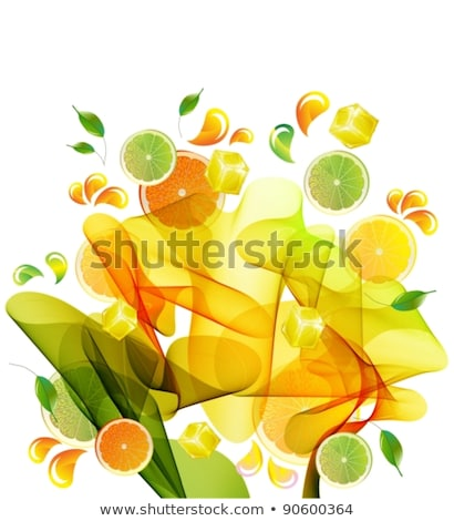 orange and lime juice splash with abstract wave stock photo © elmiko