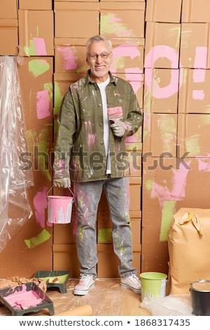 idős · férfi · festmény · fal · otthon · festék - stock fotó © lighthunter
