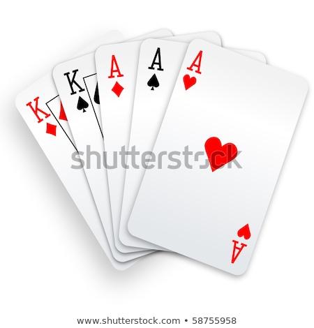 plein · maison · cartes · à · jouer · visage · vert - photo stock © mannaggia