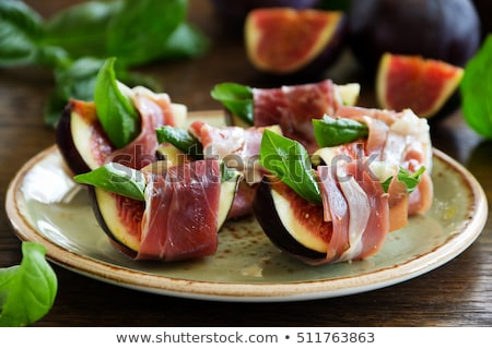 appetizer, fig and prosciutto ham Stock photo © M-studio