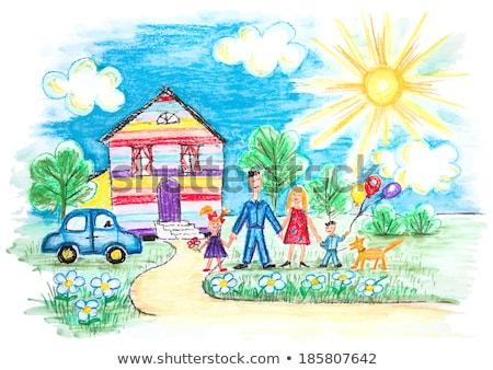 Köpek kırmızı mum boya renkli karikatür Stok fotoğraf © derocz