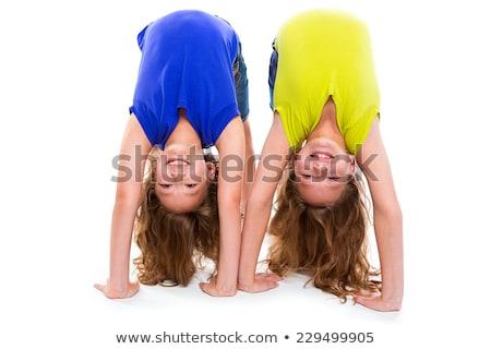 gyerek · lány · szalag · ritmikus · torna · testmozgás - stock fotó © escander81